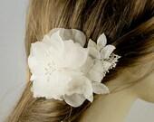 Pure Silk Bridal HairPiece Wedding Fascinator, Wedding Hairpiece, Wedding Hair Piece, Flower Bridal Hair Clip, Wedding Hair Accessory