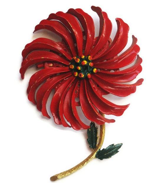vintage brooch Big Red Flower Vintage enamel flower brooch