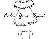 Printable PDF - Additional Paper Doll Clothing and Accessories - Color Your Own