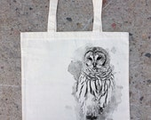 Owl and Watercolor Paint - Natural Colored Canvas Tote Bag