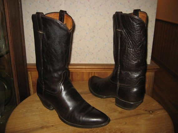 Vintage  Western  Handcrafted  Leather  Cowboy  Boots  W391   Mens  10 D