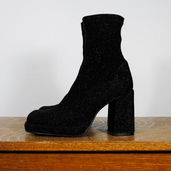 vintage boots / platforms with chunky heel / sparkle (size 6.5 eur 37)