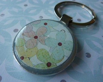 Green & Pink Flowers Keychain