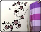 Cherry Blossom Wall decal - removable vinyl cherry vine wall decor w/ humming birds