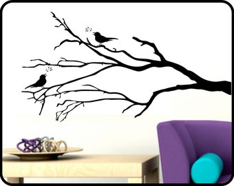 "Winter Tree Branch Wall Decal with Song Birds - removable vinyl sticker decor 42"" x 23"""