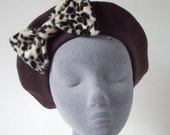 Brown Hat- Brown Beret Hat with Leopard Fake Fur Bow