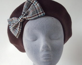 Brown Hat- Brown Beret Hat with Turquoise Tweed Bow