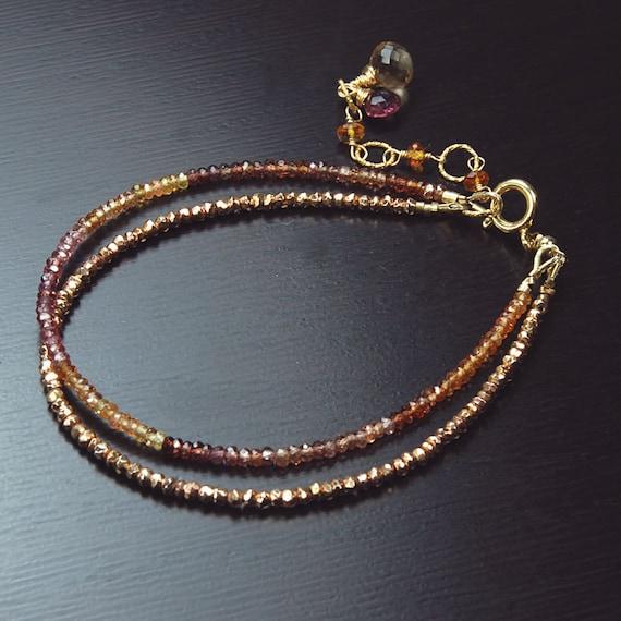 Tunduru Sapphire And Rose Gold Pyrite Two Tier Bracelet. Tandor Sapphire multi Strand Bracelet