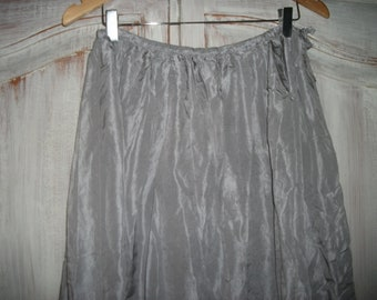 "FABULOUS SILK SKIRT,maxi/ankle length ,silvery grey, pure silk, French, 32"" waist"