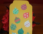 Extra large  gold Christmas bookmark with lots of colorful christmas ornaments