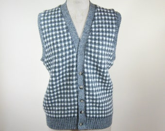1980s Grey White Sweater Vest Checked Mens Large Womens Extra Large