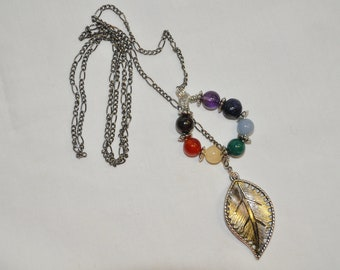 """28"""" Circle Chakra Drop Necklace with Silver Leaf, necklace, drop, chakra, circle, leaf"""
