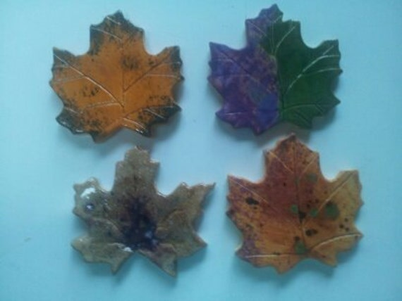 Set of 4 fall 3 x 3 maple leaves for mosaic or tile accent.