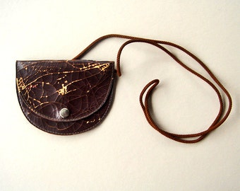 Vintage Leather Pouch with Cord