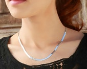 HERRINGBONE NECKLACE Sterling Silver 925, Shiny Chain Necklace, Modern Geometric Jewelry