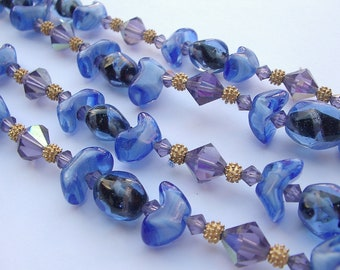 Vintage blue glass bead necklace, 2 strand necklace, violet AB crystal necklace, rhinestone flower clasp, costume jewelry, hippie bohemian