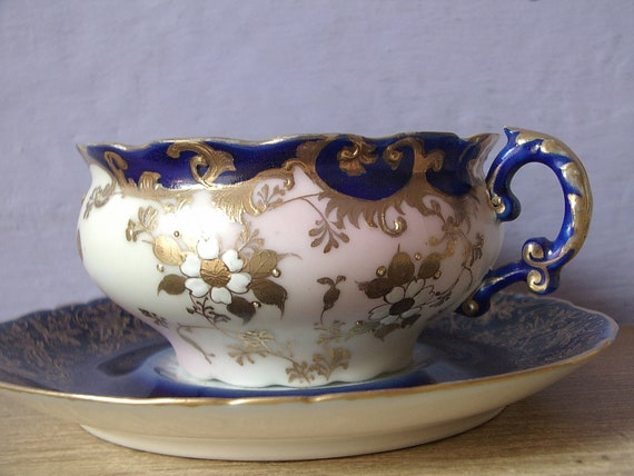antique blue mustache tea cup and saucer set, Limoges France, gold white flowers, victorian era