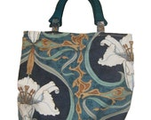 Lily print purse with wood handles