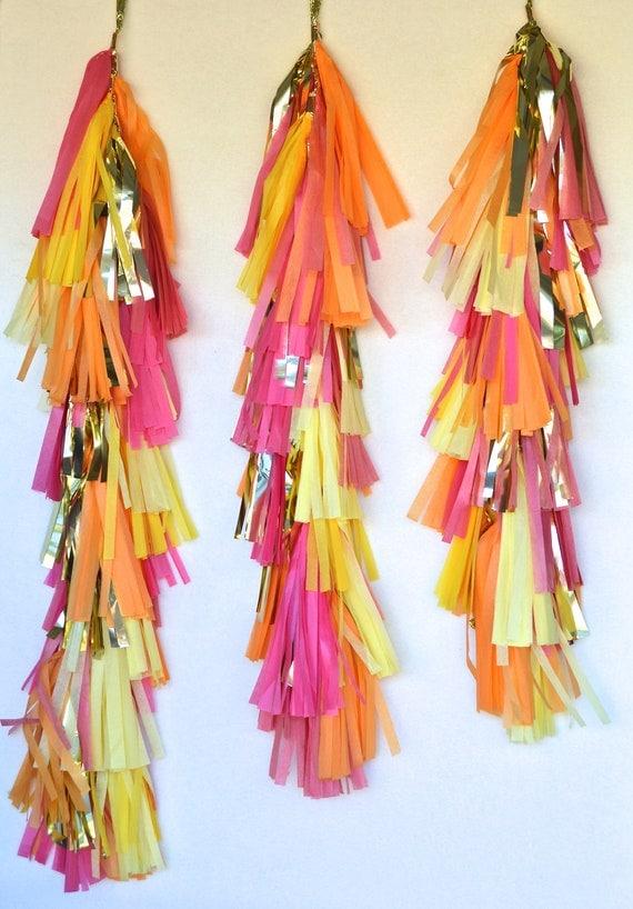 Pink, Lemon & Apricot Amazingness Tissue Tassel Tower