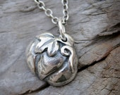 Pumpkin PMC Pure Silver Necklace. Handmade Halloween Charm.  Fall Jewelry.  Fall Fashion.  Autumn Necklace.  Thanksgiving Food.