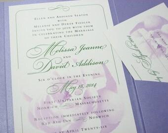 Wedding Invitation Pocketfold Lavender Floral Custom Spring Summer Elegant Wedding Invite Garden Wedding Delicate Lavender Pocket