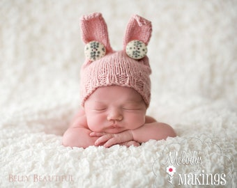 Baby Bunny Hat Knitting Pattern - 6 Sizes - PDF Sale - Instant Digital Download