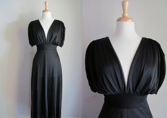 Vintage Black Gown / Long Nightgown / French Gown