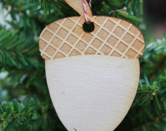 Wooden Acorn Christmas Ornament