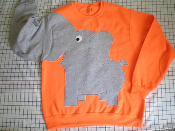 Elephant Trunk sleeve sweatshirt sweater jumper unisex mens M,L,XL  FLOURESCENT hunter orange