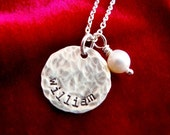 Mother Necklace Kids Names Stamped Sterling Silver Distressed Disc