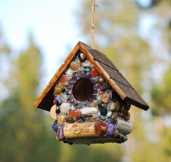 Outdoor Mosaic Birdhouse ready to hang
