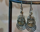 Sterling and Brass Rustic Hammered Spirals Earrings