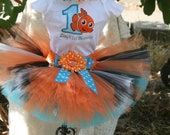 Nemo Tutu Birthday Outfit, 3 piece set: Tutu, embroidered shirt, and headband
