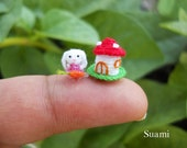 1/5 inch Extreme Micro Bunny Rabbit - Teeny Tiny Miniature Crochet Bunny Rabbit Amigurumi With Carrot and Mushroom House - Made To Order