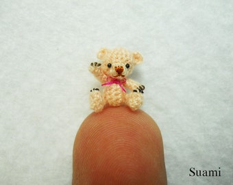 1/2 Inch Micro Miniature Bear - Extreme Tiny Thread Crochet Mohair Teddy Bear Stuff Animal  - Made To Order