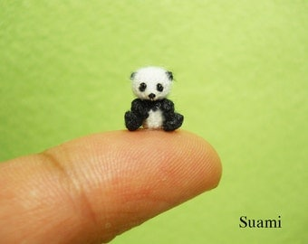 Micro Miniature Panda Bear 0.4 Inch - Extreme Tiny Amigurumi Thread Crochet Bear Stuff Animal - Made To Order