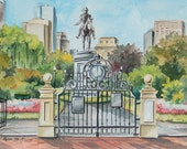 "Entrance to the  Boston Public Garden, 5""x7""  matted print  by Renee' MacMurray"