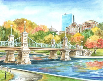 "Boston Public Garden, 8""x10"" Matted Print"