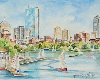 "8""x 10"" Matted Print of ""Charles River Boston"" by Renee' MacMurray"