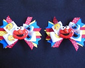 Elmo pigtail bow pair