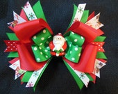 Santa bow, large 5 inch Christmas bow