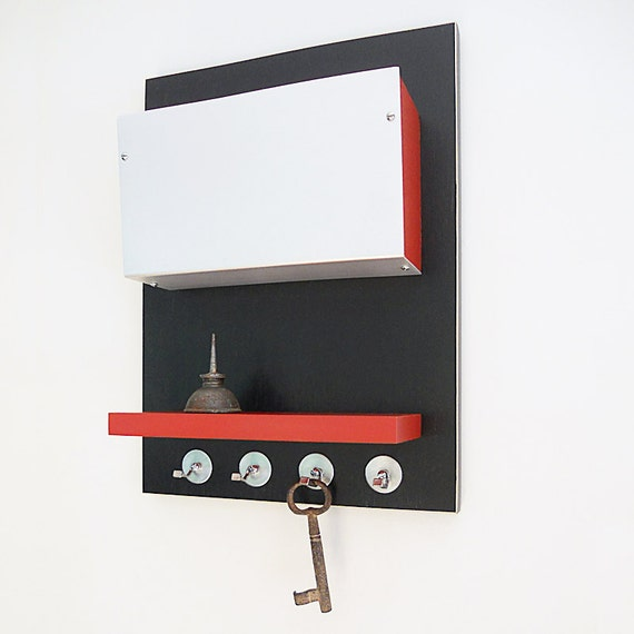 WALL STORAGE BIN: Modern Wall Mount Organizer with Key Hooks and Shelf for Cell Phone and Wallet Perfect for Home or Office.
