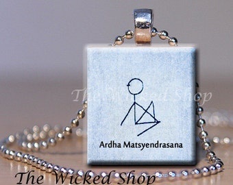 Scrabble Tile Pendant Necklace - Yoga Stickman - Ardha Matsyendrasana (Almost purple in color) FREE Silver Plated Ball Chain (YOGAMAN2)
