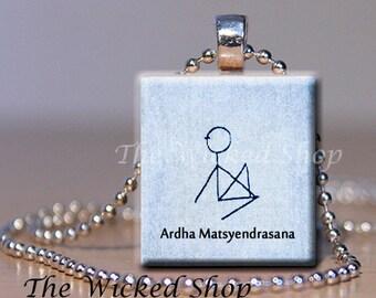 Scrabble Tile Pendant Necklace - Yoga Stickman - Ardha Matsyendrasana FREE Silver Plated Ball Chain (YOGAMAN2)
