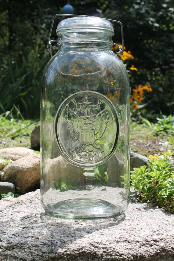 Vintage 2-Gallon Bicentennial Ball Ideal Clear Glass Storage Bicentennial Commemorative Eagle Jar with Metal Bale