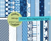 Ocean Blues 8.5x11 Digital Paper Pack 300 dpi printable personal and small business use