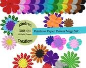 Rainbow Paper Flower Mega Digital Embellishment Set 300 dpi printable clipart small business use