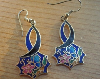 Vintage enamel drop earrings