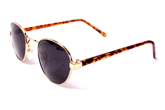Gold and Tortoise Late 1980s Round Sunglasses