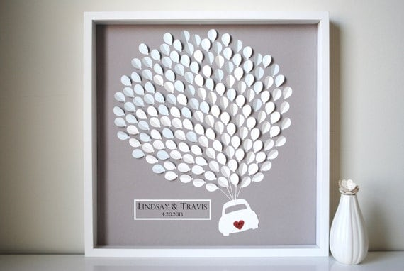 Wedding Guest Book Alternative- 3D Balloons car silhouette - LARGE - For up to 235 guests (includes frame, instruction card & pens)